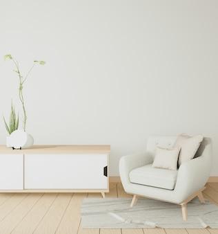 Le meuble intérieur en bois et le fauteuil minimal dans la salle blanche moderne japonaise. rendu 3d
