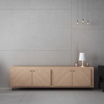 Meuble de salon et mur de béton / intérieur de rendu 3d