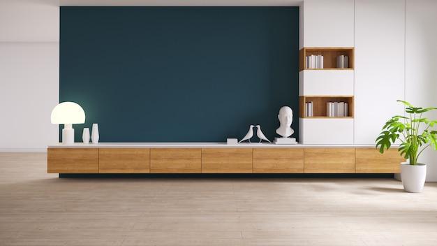 Meuble de télévision en bois avec plante sur plancher en bois et mur de couleur vert foncé, mezzanine et intérieur vintage du salon, rendu 3d