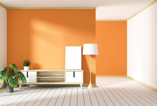 Meuble de télévision dans une pièce moderne rouge, design minimaliste, style zen. rendu 3d