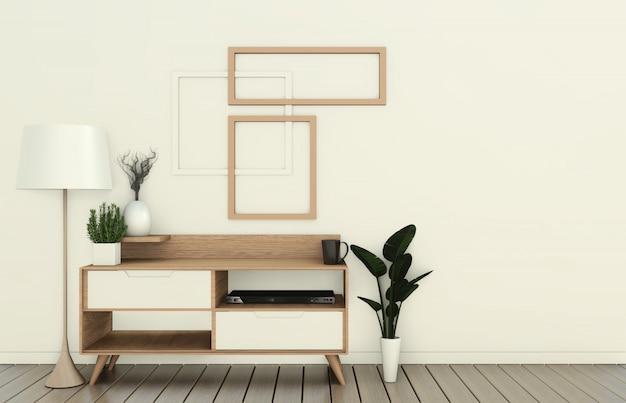 Meuble de télévision dans une pièce vide moderne de style japonais - zen, dessins minimalistes. rendu 3d