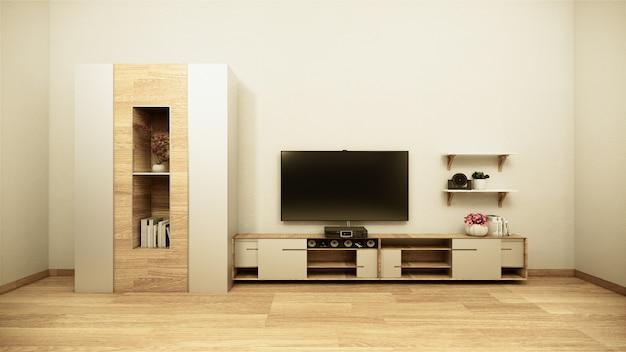 Meuble de télévision dans la salle de menthe tropicale japonaise - style zen, conceptions minimales. rendu 3d