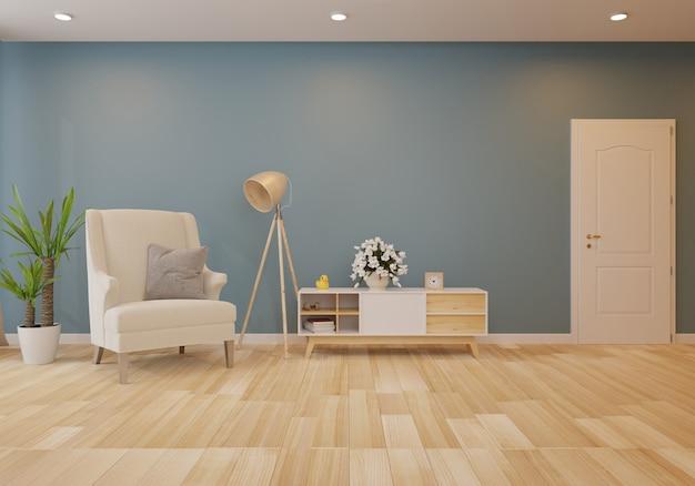 Meuble de télévision dans une salle vide moderne sur fond sombre de plancher et mur en bois, rendu 3d