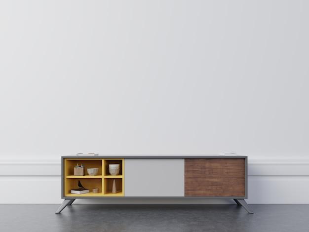 Meuble de télévision dans une salle vide moderne, mur blanc.