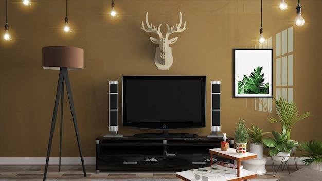Meuble de télévision dans une salle vide moderne de style japonais, dessins minimalistes. rendu 3d