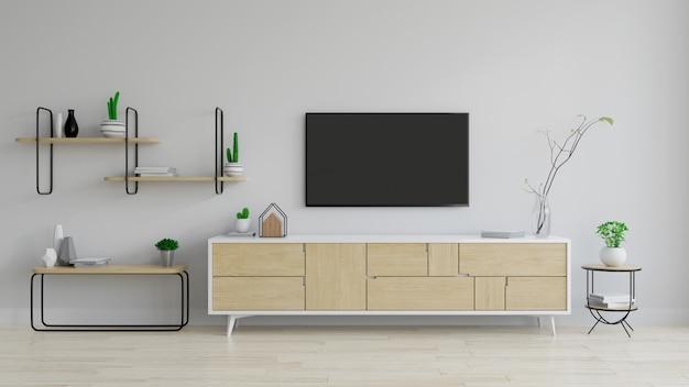 Meuble tv bois avec plante sur parquet et mur blanc