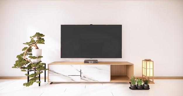 Meuble tv en bois et rendu 3d de mur blanc