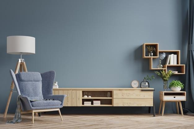 Meuble tv dans un salon moderne avec fauteuil sur un mur sombre vide. rendu 3d