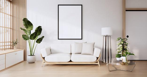 Meubles de canapé et conception de pièce moderne maquette rendu minimal.3d