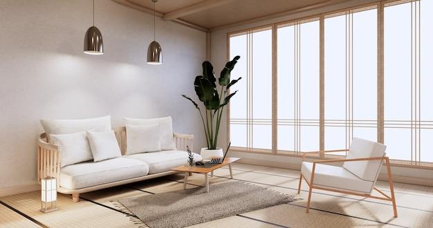 Meubles de canapé et design de chambre moderne rendu minimal.3d
