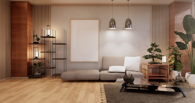 Meubles de canapé, design japonais de chambre moderne, rendu minimal.3d
