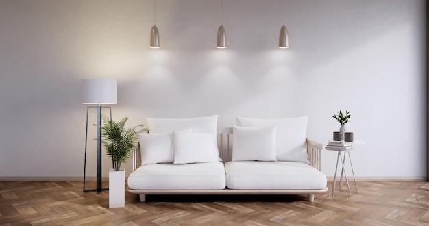 Meubles de canapé et maquette de conception de chambre moderne rendu minimal.3d