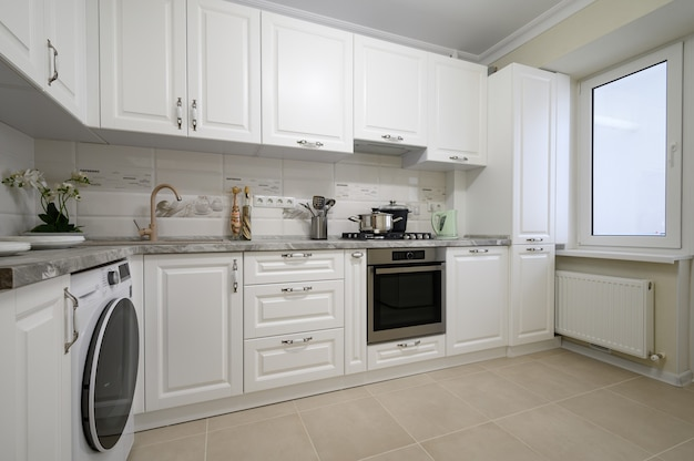 Meubles de cuisine modernes blancs de luxe