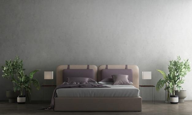 Meubles de décoration et de décoration modernes et confortables de la chambre à coucher et rendu 3d de la texture du mur en béton