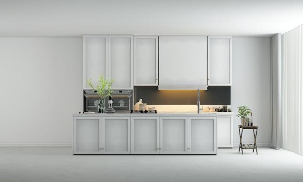 Les meubles de maison et de décoration simulent le design intérieur de la salle à manger et le fond de texture de mur vide