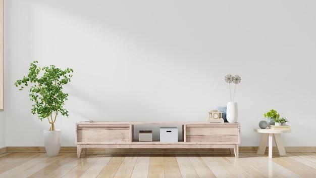 Meubles de rangement et mur pour tv dans le salon, murs blancs.