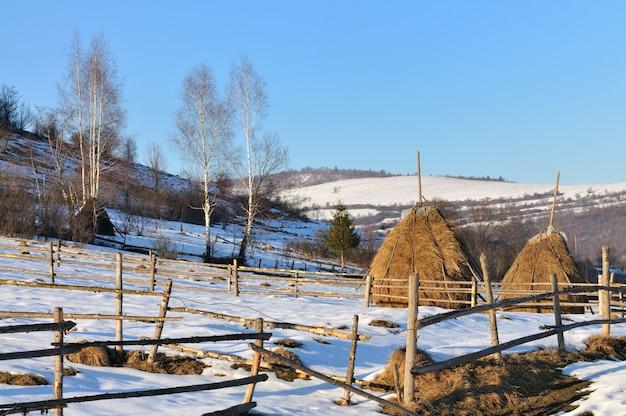 Meules de foin et beau paysage d'hiver