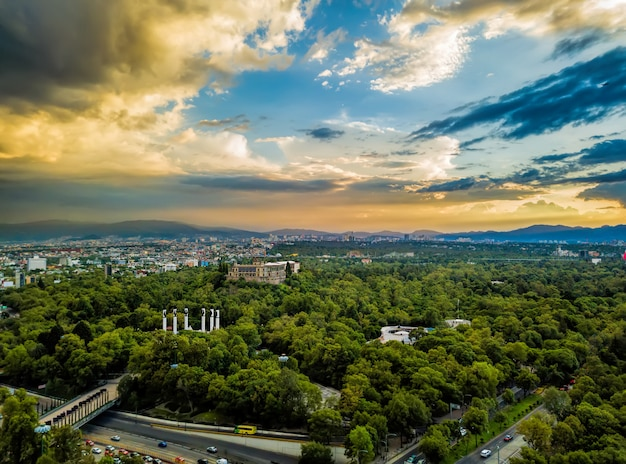 Mexico - vue panoramique de chapultepec - coucher de soleil