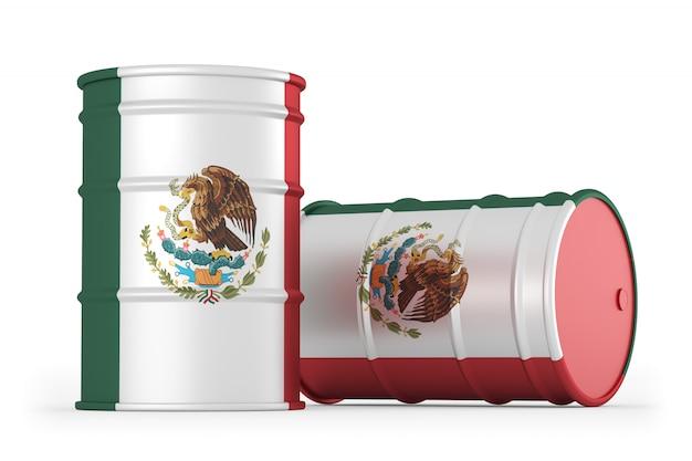 Mexique barils de drapeau de style pétrolier isolés