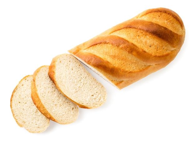 Miche de pain coupée en morceaux la vue du dessus.