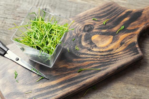 Microgreens. germes de lentilles sur un fond en bois.