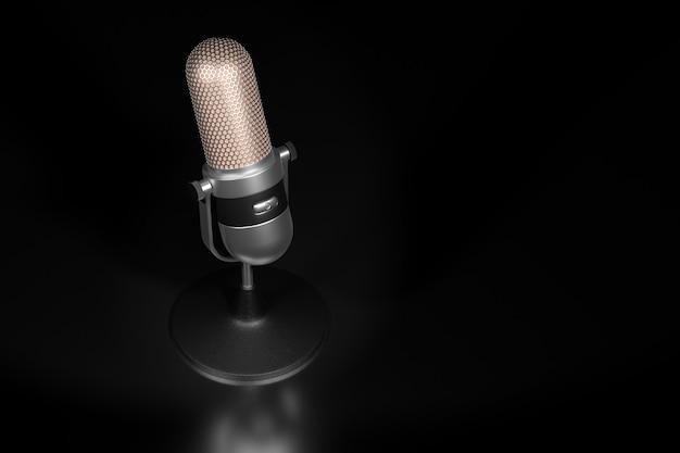Microphone argent vintage sur un rendu 3d de fond sombre.