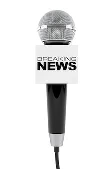 Microphone avec breaking news box sign sur fond blanc. rendu 3d
