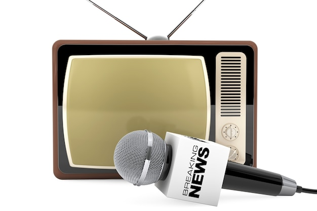 Microphone avec breaking news box sign et retro old tv sur fond blanc. rendu 3d