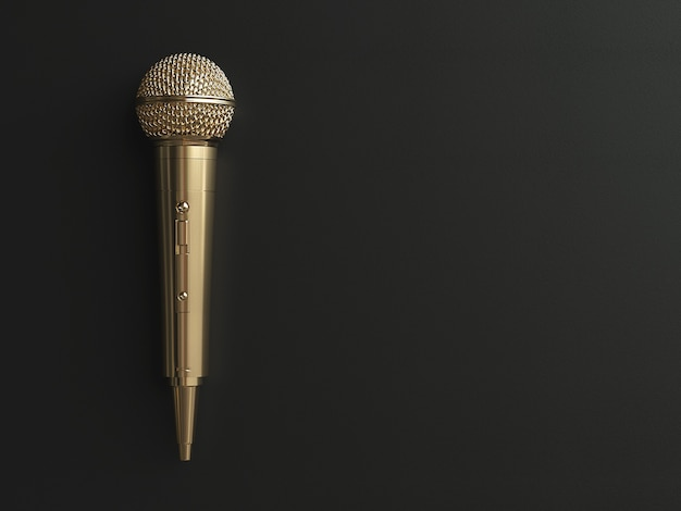 Microphone doré sur fond mat concept. illustration 3d