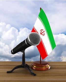 Microphone et drapeau iranien. illustration 3d
