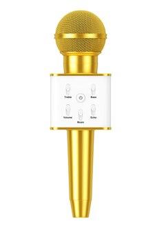 Microphone de karaoké sans fil de radio sans fil vocal personnel doré moderne avec haut-parleur et commandes sonores sur fond blanc. rendu 3d