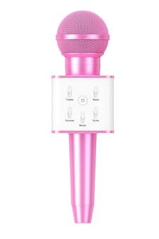 Microphone de karaoké sans fil radio vocal personnel rose moderne avec haut-parleur et commandes sonores sur fond blanc. rendu 3d