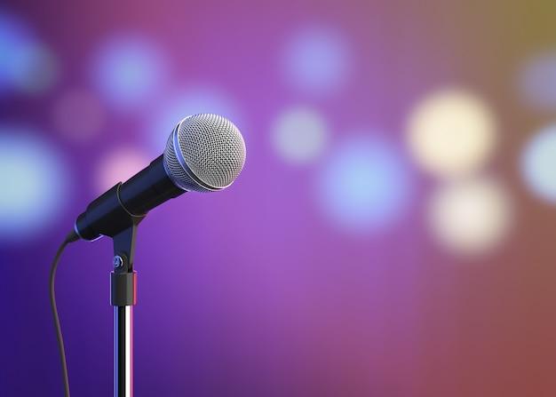 Microphone avec des lumières floues rendu 3d