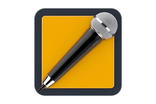 Microphone moderne comme bouton d'icône web de point de contact sur un fond blanc. rendu 3d