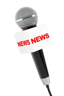 Microphone avec news box sign sur fond blanc. rendu 3d