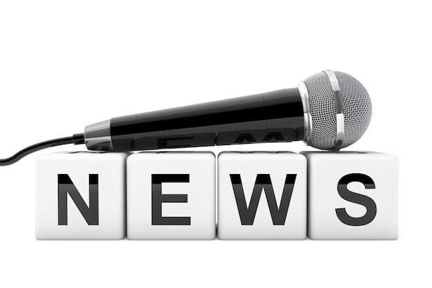 Microphone sur news box sign sur un fond blanc. rendu 3d