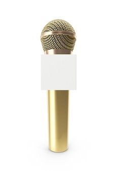 Microphone or isolé sur blanc
