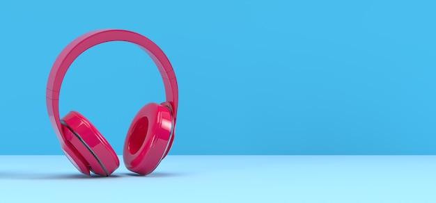 Microphone podcast rose sur fond bleu. divertissement et concept de vidéoconférence en ligne. rendu d'illustration 3d