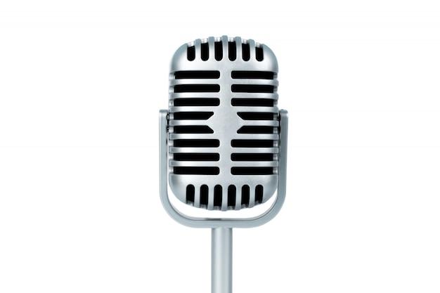 Microphone rétro sur blanc isolé