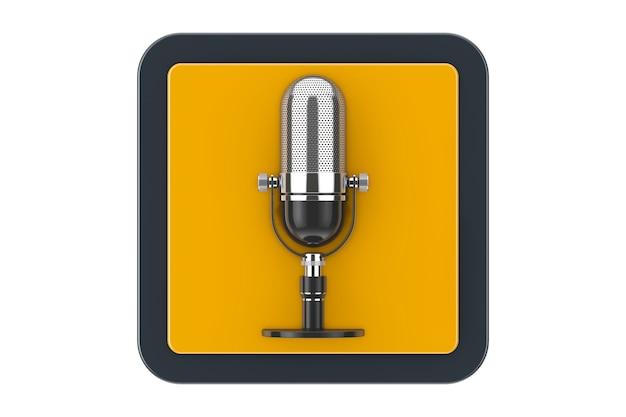 Microphone rétro comme bouton d'icône web de point de contact sur un fond blanc. rendu 3d