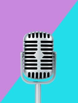 Microphone Rétro Sur Couleur Photo Premium