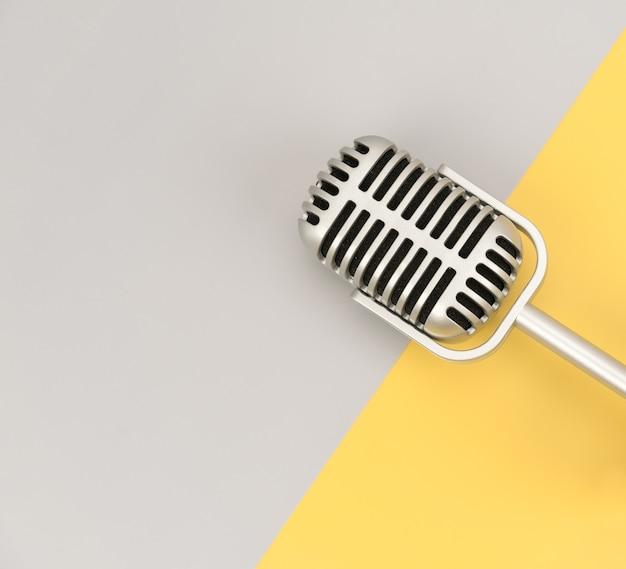Microphone rétro avec espace copie sur fond de couleur