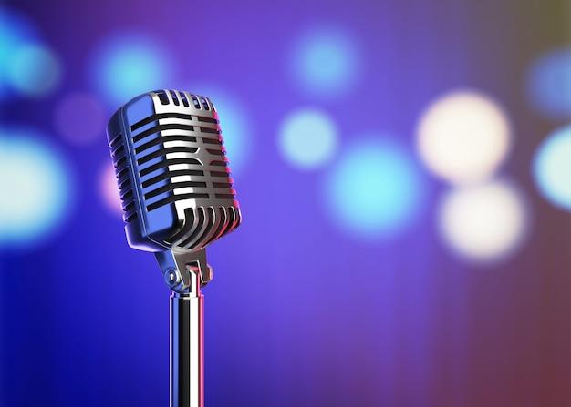 Microphone rétro avec lumières brouillées rendu 3d