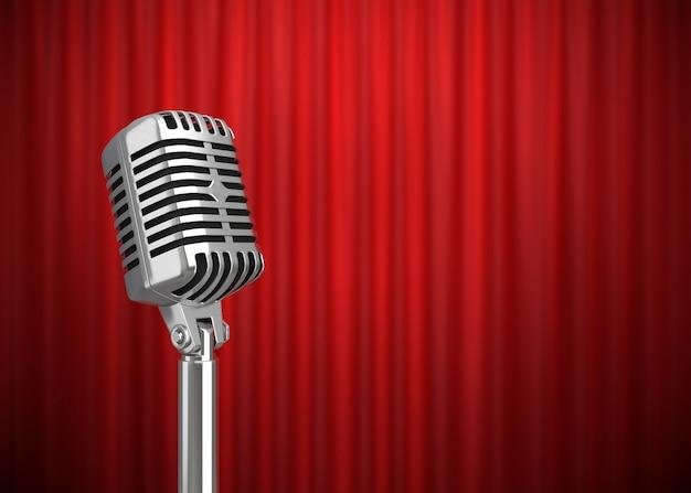 Microphone rétro sur scène rendu 3d