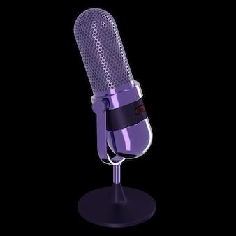Microphone vintage de couleur violette isolé sur fond noir. rendu 3d.