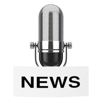 Microphone vintage avec étiquette news tag sur fond blanc rendu 3d