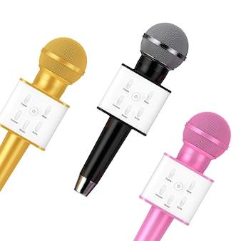 Microphones de karaoké sans fil avec radio vocale sans fil moderne doré, rose et noir avec haut-parleur et commandes de son sur fond blanc. rendu 3d