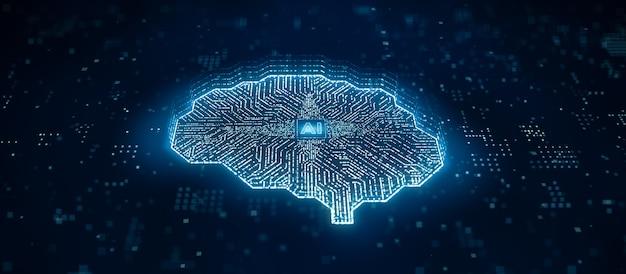 Le microprocesseur ai transfère des données numériques via un ordinateur de circuit cérébral, l'intelligence artificielle à l'intérieur de l'unité centrale de processeur ou du processeur, illustration 3d de la technologie futuriste d'apprentissage en profondeur