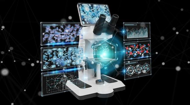 Microscope numérique moderne avec analyse d'écran, rendu 3d