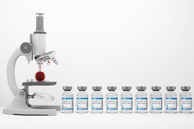Un microscope regardant le virus covid-19 avec des vaccins et des médicaments sur fond blanc rendu 3d